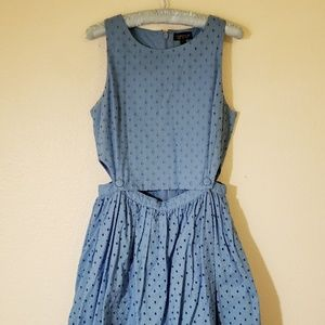 Topshop blue embroidered pinafore dress